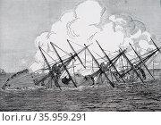 Illustration of the German ship SMS Grosser Kurfürst. Редакционное фото, агентство World History Archive / Фотобанк Лори