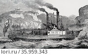 Illustration depicting the paddle steamer 'The Carroll of Carrolton' Редакционное фото, агентство World History Archive / Фотобанк Лори