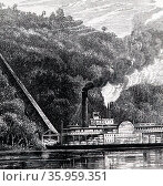 Illustration depicting a paddle steamer on the Mississippi River. Редакционное фото, агентство World History Archive / Фотобанк Лори