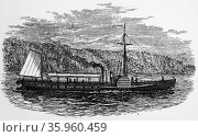 Engraving depicting Robert Fulton's paddle steamer 'Clermont' (2016 год). Редакционное фото, агентство World History Archive / Фотобанк Лори