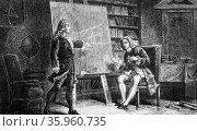 Engraving depicting Jean and Jacques Bernoulli working on geometrical problems (2016 год). Редакционное фото, агентство World History Archive / Фотобанк Лори