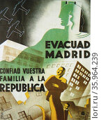 poster refers to one of the key moments in the evolution Republican Spanish Civil War. Редакционное фото, агентство World History Archive / Фотобанк Лори