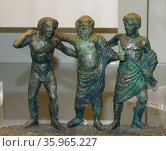 Greco-Roman Bronze handle of a casket (cista) in the form of the god Silenus. Редакционное фото, агентство World History Archive / Фотобанк Лори