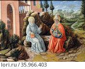 Painting titled 'St. Benedict Sabi talking' by Giovanni Boccati. Редакционное фото, агентство World History Archive / Фотобанк Лори