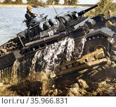 Panzer Mark III tank, crossing a river on the Eastern Front. Редакционное фото, агентство World History Archive / Фотобанк Лори