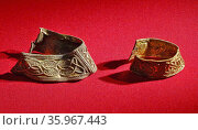 Pair of hilt collars, with filigree decoration, from the Staffordshire Hoard. Anglo-Saxon. 7th or 8th centuries. Редакционное фото, агентство World History Archive / Фотобанк Лори