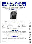 Top Ten Most Wanted notice issued by the FBI for Osama Bin Laden. Редакционное фото, агентство World History Archive / Фотобанк Лори
