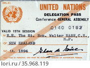 UN delegate pass for New Zealand Prime Minister Walter Nash 1960. Редакционное фото, агентство World History Archive / Фотобанк Лори