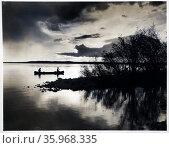 Photograph of sunset at Kingsmere lake Prince Albert National Park, Saskatchewan. Редакционное фото, агентство World History Archive / Фотобанк Лори