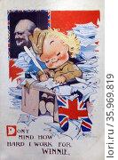 World war two, British Propaganda poster 'Don't mind how hard I work for winnie (Churchill) Редакционное фото, агентство World History Archive / Фотобанк Лори