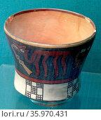 Pot painted with llamas, Nasca, Peru, AD 125-250. Редакционное фото, агентство World History Archive / Фотобанк Лори