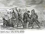 Engraving depicts the uprising in La Mancha. Редакционное фото, агентство World History Archive / Фотобанк Лори