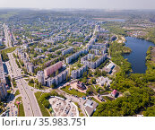 Aerial view of Stary Oskol with Alexander Nevsky Cathedral. Стоковое фото, фотограф Яков Филимонов / Фотобанк Лори