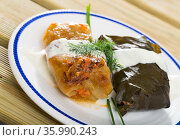 Close up of cabbage and grape rolls in leaves at plate with sour cream. Стоковое фото, фотограф Яков Филимонов / Фотобанк Лори
