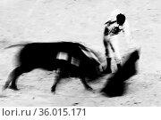 Bullfigting in bullring Las Ventas, Madrid, Spain. Artistic abstract... Стоковое фото, фотограф Zoonar.com/Matej Kastelic / easy Fotostock / Фотобанк Лори