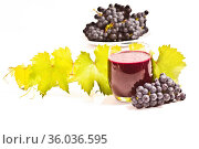 Frisch gepresster roter Traubensaft mit Weinlaub auf weißem Hintergrund. Стоковое фото, фотограф Zoonar.com/Helma Spona / age Fotostock / Фотобанк Лори