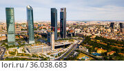 Aerial view of four Towers Business Area in Madrid. Стоковое фото, фотограф Яков Филимонов / Фотобанк Лори