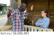 Woman having unpleasant talk with neighbour. Стоковое фото, фотограф Яков Филимонов / Фотобанк Лори