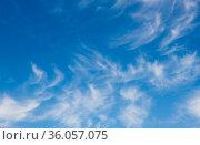 Белые перистые облака в синем небе. Стоковое фото, фотограф E. O. / Фотобанк Лори