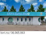 Closed ticket offices of the Euro 2020 football championship in St. Petersburg. Редакционное фото, фотограф Андрей Зарин / Фотобанк Лори