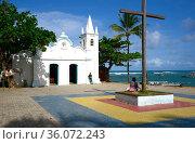 Praia do Forte, Sto. Francisco Square and church. Bahia, Brazil. Стоковое фото, фотограф J M Barres / age Fotostock / Фотобанк Лори