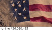 Composition of distressed scratches over vintage, aged american flag. Стоковое фото, агентство Wavebreak Media / Фотобанк Лори
