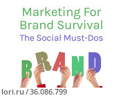 Composition of marketing for brand survival text with hands holding letters spelling brand, on white. Стоковое фото, агентство Wavebreak Media / Фотобанк Лори