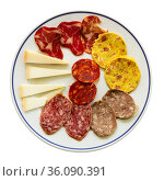 Slicing of different varieties of smoked sausages, carbonade, omelet and pieces of hard cheese. Стоковое фото, фотограф Яков Филимонов / Фотобанк Лори