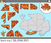Cartoon illustration of educational jigsaw puzzle game for children... Стоковое фото, фотограф Zoonar.com/Igor Zakowski / easy Fotostock / Фотобанк Лори