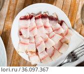 Pieces of raw pork lard. Стоковое фото, фотограф Яков Филимонов / Фотобанк Лори
