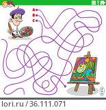 Cartoon illustration of lines maze puzzle game with artist painter... Стоковое фото, фотограф Zoonar.com/Igor Zakowski / easy Fotostock / Фотобанк Лори