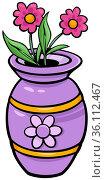 Cartoon illustration of vase with flowers object clip art. Стоковое фото, фотограф Zoonar.com/Igor Zakowski / easy Fotostock / Фотобанк Лори