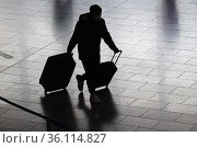 """""""Frankfurt am Main, Germany, silhouette of a traveller in the terminal of the airport"""" Редакционное фото, агентство Caro Photoagency / Фотобанк Лори"""