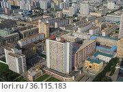 """Pjoengjang, North Korea, View from the Chuche Tower to the city centre of the North Korean capital"" (2012 год). Стоковое фото, агентство Caro Photoagency / Фотобанк Лори"