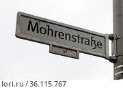 """Berlin, Germany, street sign Mohrenstrasse"" Редакционное фото, агентство Caro Photoagency / Фотобанк Лори"