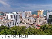 Aerial cityscape view. Kota Kinabalu, Malaysia (2019 год). Редакционное фото, фотограф EugeneSergeev / Фотобанк Лори