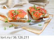 Bruschetta with salmon and cream cheese on a white plate. Стоковое фото, фотограф Марина Володько / Фотобанк Лори