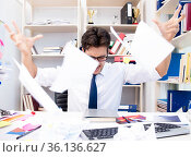 Angry and scary businessman in the office. Стоковое фото, фотограф Elnur / Фотобанк Лори