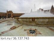 The Plaza de Espana in Seville, Spain (2019 год). Редакционное фото, фотограф Юлия Белоусова / Фотобанк Лори