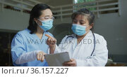 Portrait of asian female doctors wearing face masks, using tablet and discussing in hospital. Стоковое видео, агентство Wavebreak Media / Фотобанк Лори
