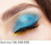 Closed human female eye with blue smoky eyes shadows and yellow liner. Стоковое фото, фотограф Serg Zastavkin / Фотобанк Лори