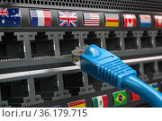 VPN virtual private network conncetion concept. Lan cable and a router with different flags. Стоковое фото, фотограф Maksym Yemelyanov / Фотобанк Лори