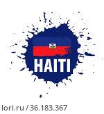 Haiti national flag, vector illustration on a white background. Стоковое фото, фотограф Zoonar.com/Aleksey Butenkov / easy Fotostock / Фотобанк Лори