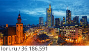 Panoramic view on Frankfurt at dusk (2013 год). Стоковое фото, фотограф Sergey Borisov / Фотобанк Лори