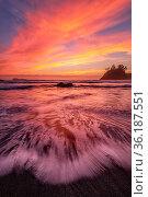Rocky Beach Landscape at Sunset, Color Image, Day. Стоковое фото, фотограф Zoonar.com/Jeffrey Schwartz / age Fotostock / Фотобанк Лори