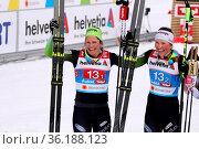 Sie hatten nach WM-Silber im Teamsprint Skilanglauf gut lachen: v... Стоковое фото, фотограф Zoonar.com/Joachim Hahne / age Fotostock / Фотобанк Лори