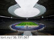 Das weite Rund des Berliner Olympiastadions - 1. BL: 19-20: 15. Sptg... Стоковое фото, фотограф Zoonar.com/Joachim Hahne / age Fotostock / Фотобанк Лори