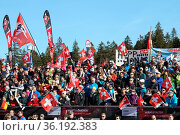 Schweizer Fans im Weltcupstadion am Seebuck beim FIS Ski Cross Weltcup... Стоковое фото, фотограф Zoonar.com/Joachim Hahne / age Fotostock / Фотобанк Лори