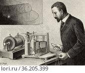 Electrophysiological experiments by Jacques-Arsène d'Arsonval (1851... Редакционное фото, фотограф Jerónimo Alba / age Fotostock / Фотобанк Лори