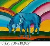 Ölgemälde mit blauem Pferd und blauem Fohlen vor einem bunten Hintergrund... Стоковое фото, фотограф Zoonar.com/Christian Länger / easy Fotostock / Фотобанк Лори